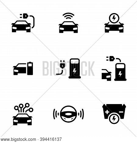 Set Of Simple Icons On A Theme Driverless Autonomous Car. Electric Powered Car, Vector, Set. White B