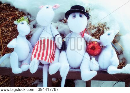 Moscow Region / Russia - 01 06 2019: Moomin Family Of Trolls In The Winter. Moomintroll Dolls In The