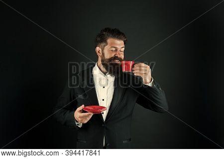 Drink To Kick-start His Morning. Hipster Drink Coffee Balck Background. Businessman Enjoy Drink Brea