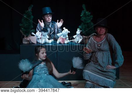 Moscow Region / Russia - 01 06 2019: Actors Puppeteer At The Performance. New Year's Performance Wit