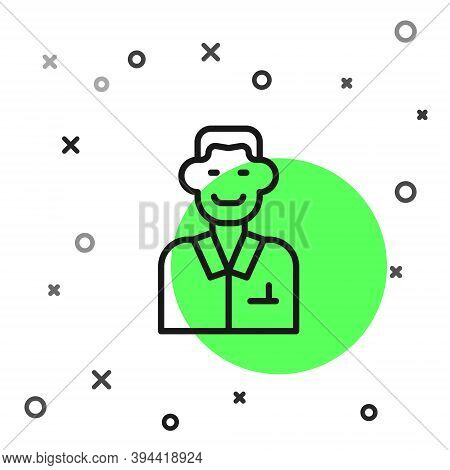 Black Line Trader Icon Isolated On White Background. Businessman Trading Stocks. Vector