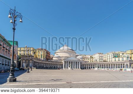 Naples, Italy, September 2020: View Of Piazza Del Plebiscito In Naples, The Most Famous Square In Th