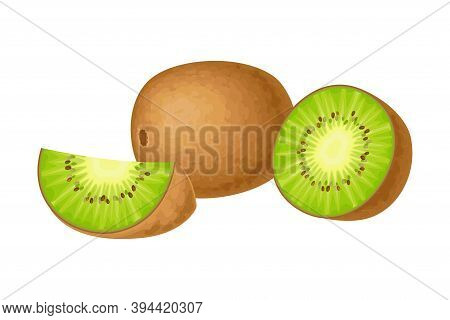Whole And Halved Kiwifruit Or Kiwi As Edible Berry With Fibrous Brown Skin And Green Flesh Vector Il