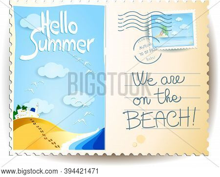 Summer Postcard With Seascape, Stamp, Postmark And Text. Vector Illustration Eps10