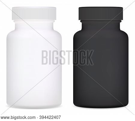Supplement Bottle. Plastic Vitamin Pill Bottle Vector Isolated In White Background. Medical Jar Blac
