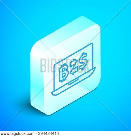 Isometric Line Cryptocurrency Exchange Icon Isolated On Blue Background. Bitcoin To Dollar Exchange