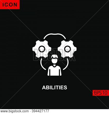Icon Abilities. Glyph, Flat Or Filled Vector Icon Symbol Sign Collection For Mobile Concept And Web