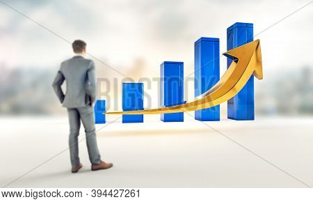 Business Growth And Success Profits Statistics Chart. Corporate Analysis Of Money Profit Increase. F