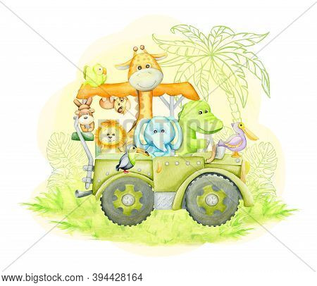 Giraffe, Elephant, Alligator, Toucan, Lion, Monkey, Sloth, Traveling In A Jeep. Watercolor Concept,