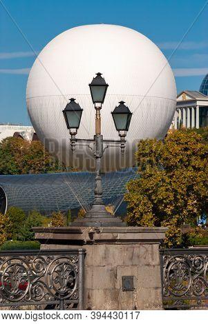 Georgia, Tbilisi - October 23, 2020: Air Excursion Balloon Over Tbilisi, Capital Of Georgia.