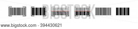 Barcode Scanning Vector Icon, Bar Code Scan Laser Islated Symbol Illustration