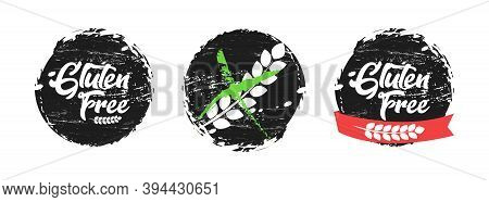 Gluten Free Grunge Tag Set, Organic Grungy Grain Eco Sticker Collection Illustration.