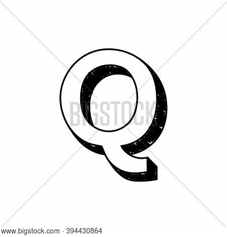 Q Letter Hand-drawn Symbol. Vector Illustration Of A Big English Letter Q. Hand-drawn Black And Whit