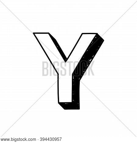 Y Letter Hand-drawn Symbol. Vector Illustration Of A Big English Letter Y. Hand-drawn Black And Whit