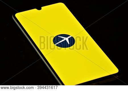 Vilnius, Lithuania - November 12 2020: Expedia Logo Displayed On The Smartphone, Travel And Hotel In