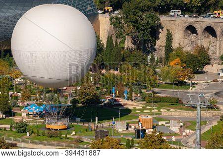 Georgia, Tbilisi - October 23, 2020: Air Excursion Balloon Over Tbilisi, Capital Of Georgia,