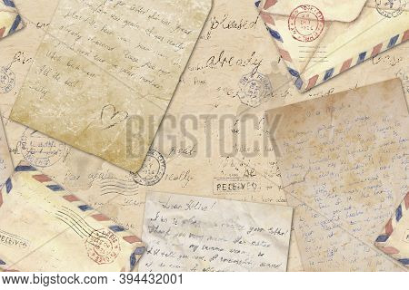 Background In Vintage Style With Hand Written Letters, Post Stamps, Envelopes. Watercolor Hand Drawn