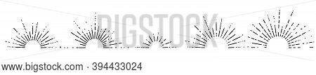 Set Of Five Retro Style Sunburst Shapes. Halves Of Sunburst Circles. Vintage Logo, Emblem, Decors Of