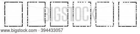 Grunge Frames With Drops, Dots Pattern Vector Background. Thin Black  Dotted Frames For Your Design.