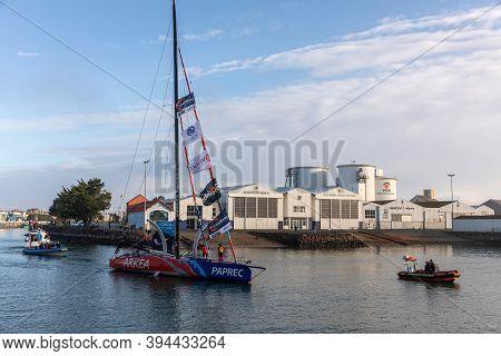 Les Sables D'olonne, France - November 08, 2020: Sebastien Simon Boat (arkea - Paprec) In The Channe