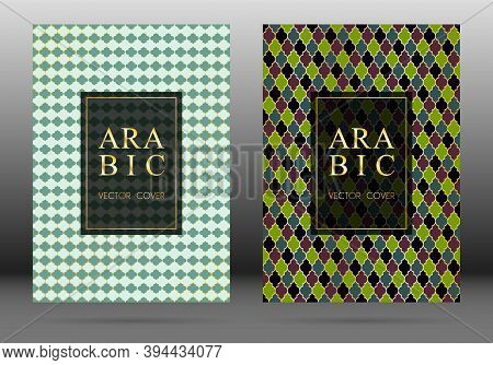 Arabesque Pattern Vector Cover Page Layout Design Collection In Arabic Style Mosaic In Gold Grid. Is