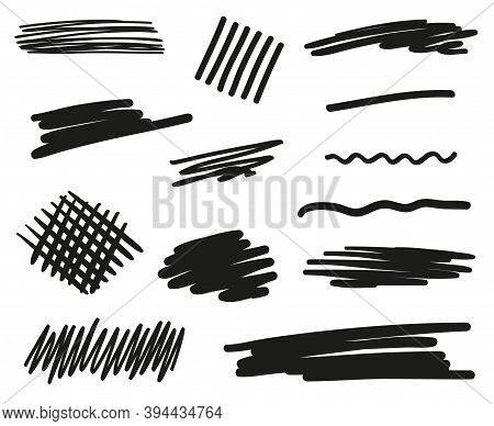 Abstract Sketches. Hand Drawn Underlines On White. Black And White Illustration