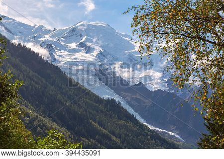 Glacier Des Bossons Or Bosson Viewed From Chamonix, Mont Blanc Massif, French Alps, France