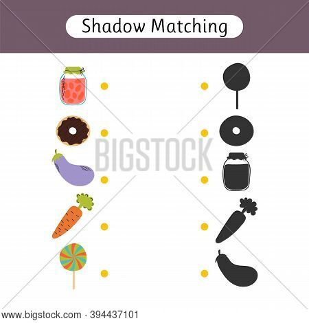 Shadow Matching Game For Kids. Find The Correct Shadow. Kids Activity For Young Age. Worksheet With