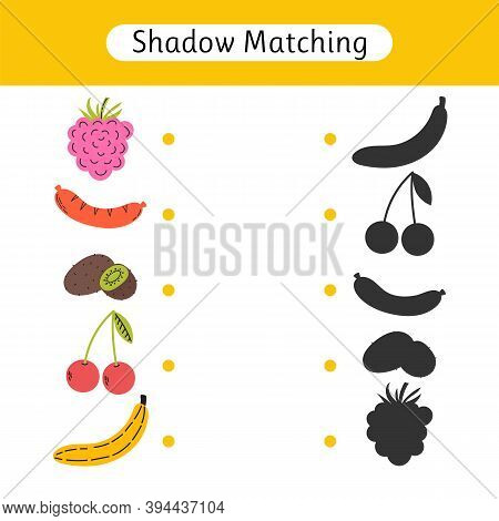Shadow Matching Game For Kids. Find The Correct Shadow. Kids Activity For Young Age. Worksheets With