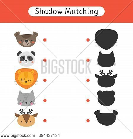 Shadow Matching Game For Kids. Find The Correct Shadow. Worksheet With Cute Animals. Kids Activity F