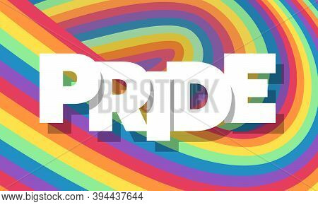 White Pride Text On Abstract Colorful Rainbow Wave Texture Background Vector Design
