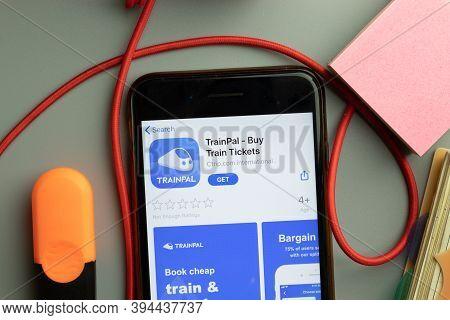New York, United States - 7 November 2020: Trainpal App Store Logo On Phone Screen, Illustrative Edi