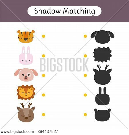 Shadow Matching Game For Kids. Worksheet With Cute Animals. Find The Correct Shadow. Kids Activity F