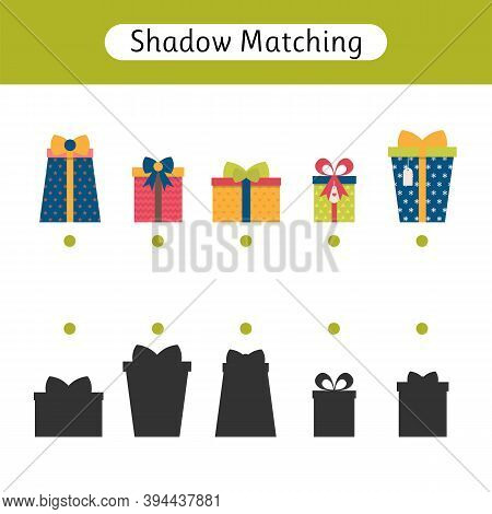 Shadow Matching Game For Kids. Worksheets With Gifts. Find The Correct Shadow. Kids Activity For Pre