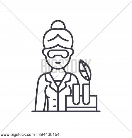 Biologist Icon, Linear Isolated Illustration, Thin Line Vector, Web Design Sign, Outline Concept Sym