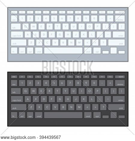 Modern Aluminum Black, White Computer Keyboard Isolated On White Background. Pc Keyboard, Tool For P