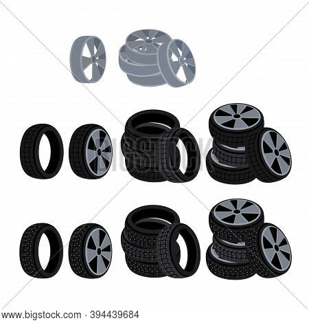 Car Tires With Spikes. Wheels And Tires. Vector
