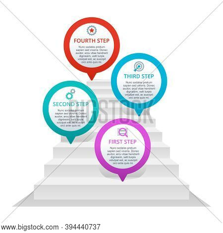 4 Steps Infographic - Pins On Stairs - Vector Presentation Template - Four Points With Sample Text A