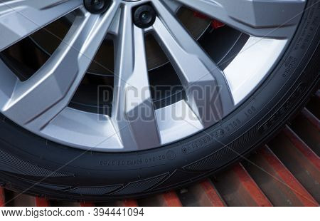 Poznan - May 17, 2019: New Car Wheel On A Car Close-up. Brand New Wheel And Tire. Right From The Fac