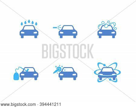 Car Washing Icon Set - Services And Equipment Of Car Wash
