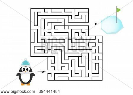 Labyrinth Game, Help The Penguin To Find A Way Out Of The Maze, Cute Cartoon Character, Preschool Wo