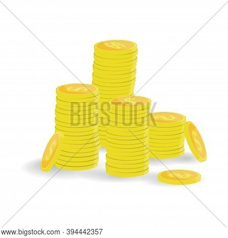 Stack Of Gold Coins Icon. Template Design Of Income And Profits. Business Concept. Heap Or Pile Of M