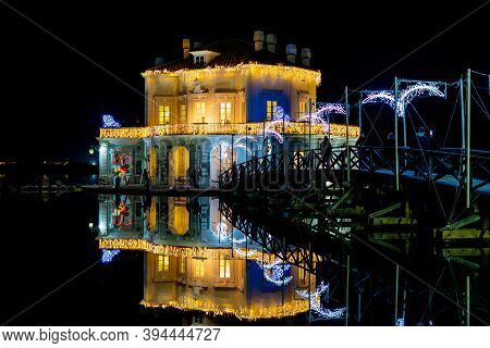 Bacoli, Naples, Italy, December 2019: Christmas Lighting On The Casina Vanvitelliana. The House Is L