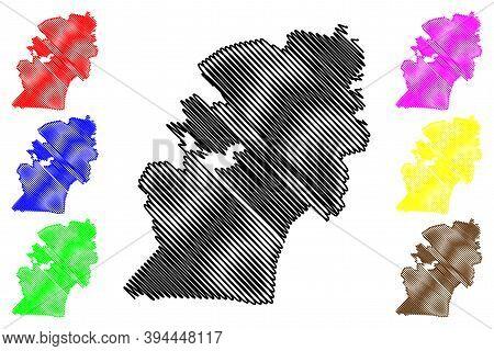 Pietermaritzburg City (republic Of South Africa, Rsa, Kwazulu-natal Province) Map Vector Illustratio