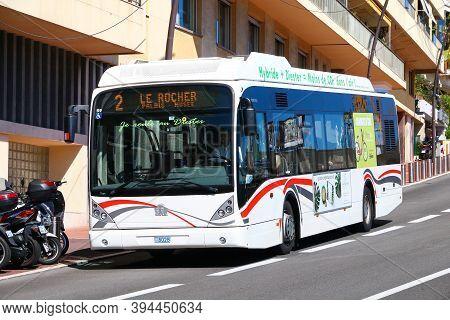 Monte Carlo, Monaco - September 12, 2019: Modern Hybrid Bus Van Hool A330 In The City Street.