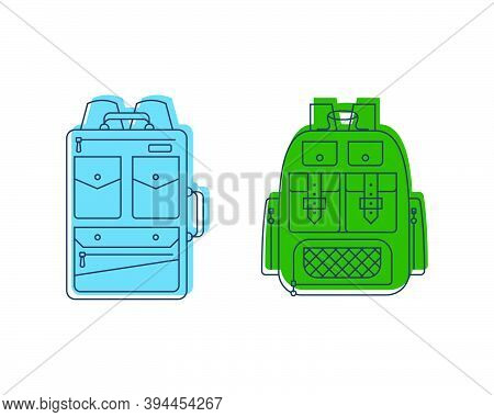 Rucksack Or Schoolbag With Pockets And Zipper Element. Education And Study Backpack For Students And