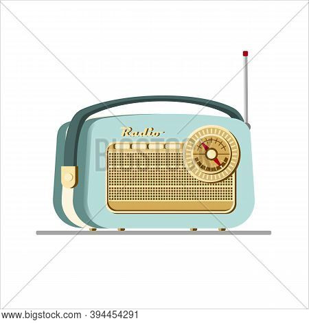 Green Old Radio Tuner. Vector Illustration Of Vintage Radio Receiver, Flat Style. Retro Radio.