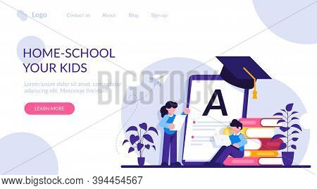 Home-school Your Kids Concept. Children At Home With Tutor Or Parent Getting Education, Tiny People.