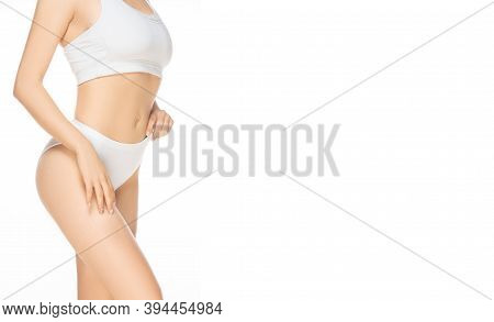 Flyer. Close Up Beautiful Female Model On White Background. Beauty, Cosmetics, Spa, Depilation, Diet