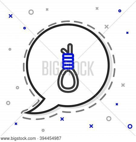 Line Gallows Rope Loop Hanging Icon Isolated On White Background. Rope Tied Into Noose. Suicide, Han